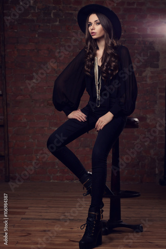 a35d69559 stylish girl in black clothes - Buy this stock photo and explore ...