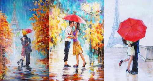 oil painting, a pair of lovers under an umbrella, Eiffel Tower, Paris, valentines day 3 in 1 collage