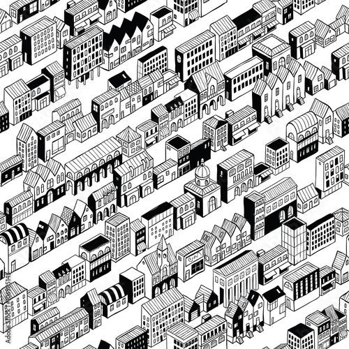 Cotton fabric Row City Seamless Pattern Isometric