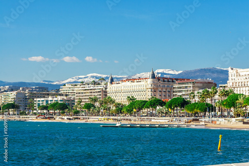 Fototapeta Panoramic view, Promenade de la Croisette, the Croisette and Port Le Vieux of Ca