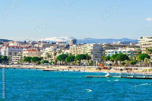 In de dag Havana Panoramic view, Promenade de la Croisette, the Croisette and Port Le Vieux of Cannes, France Cote d'Azur