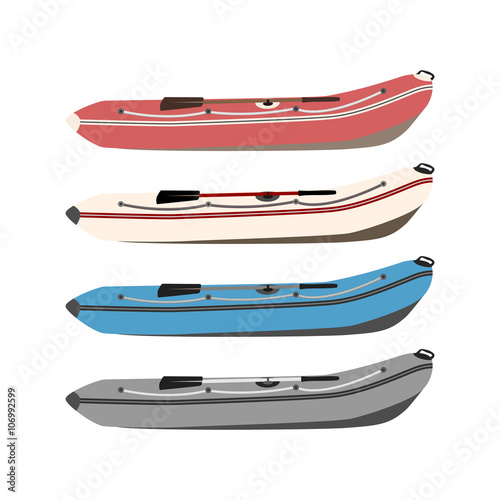 set of rubber boats in different colors of high quality material Wallpaper Mural