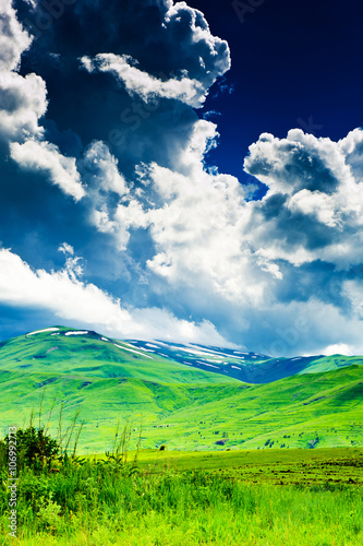 In de dag Lime groen Beautiful landscape of Armenia, summer in mountains, before the rain