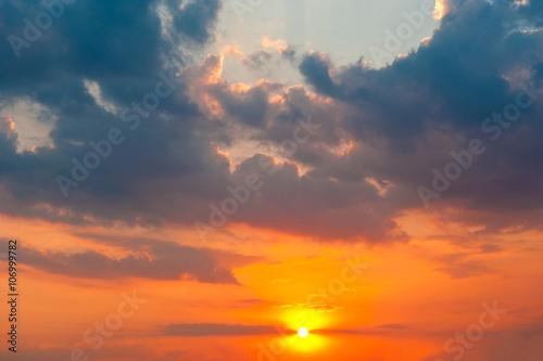 Fototapeta Sun at sunset  obraz na płótnie