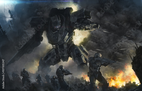Fotomural  big robot and soldiers in a fight
