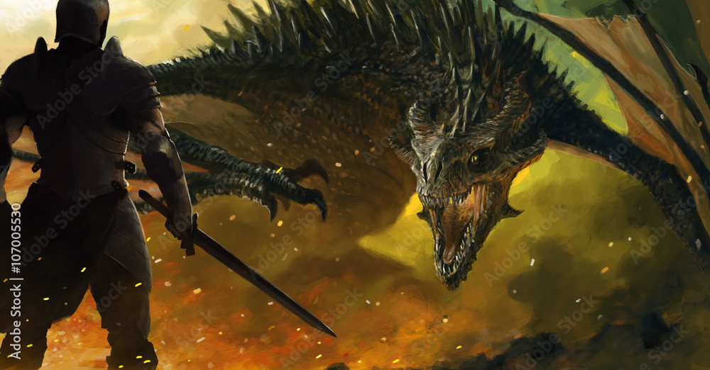 Fototapeta warrior and a dragon