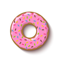 Ring Shaped Donut Covered With...