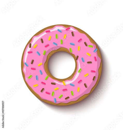 фотография Ring shaped donut covered with strawberry flavoured pink icing and placed on whi