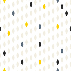 FototapetaSimple drop polka dot grey and yellow shape seamless pattern. Vector geometric row background. Polkadot pattern. Dotted scandinavian ornament.