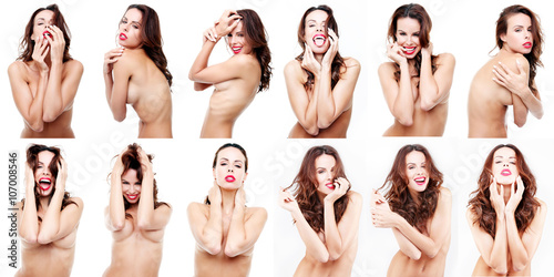 Sensual brunette girl naked in various poses