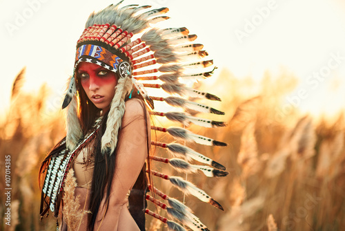 fototapeta na drzwi i meble Beautiful girl in a suit of the American Indian