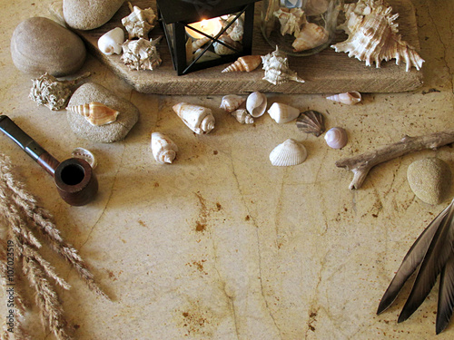 Fototapety, obrazy: Maritime / nautical decoration with seashells, smoking pipe and lantern