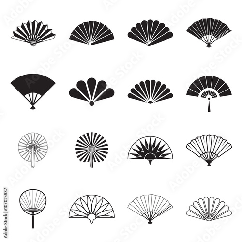 Hand fan icons. Collection of handheld icons isolated on a white background. Icons of folding and rigid fans. Vector illustration. - 107025937