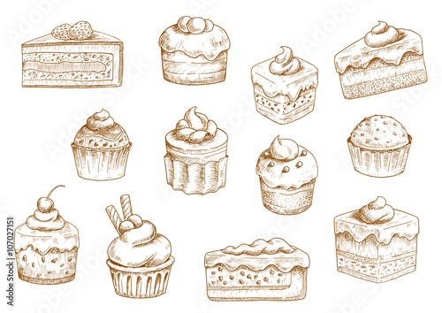 Fototapeta Pastry  and sweet desserts sketches obraz