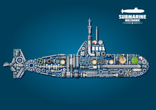 Submarine From Parts And Weapon
