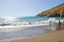 The Picturesque Beach Of Matala (Greece, Crete)