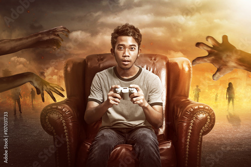 Fotografie, Obraz  Gamer Playing Zombie Games