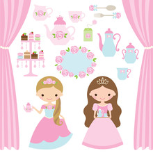 Vector Illustration Of Rose Princess Tea Party Theme.