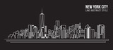 Cityscape Building Line art Vector Illustration design - new york city