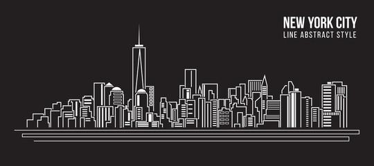 Cityscape Building Line Art Vector Vector Illustration dizajn - new york city
