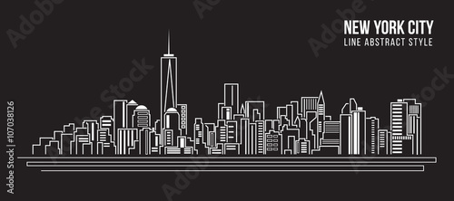 Canvas Print Cityscape Building Line art Vector Illustration design - new york city