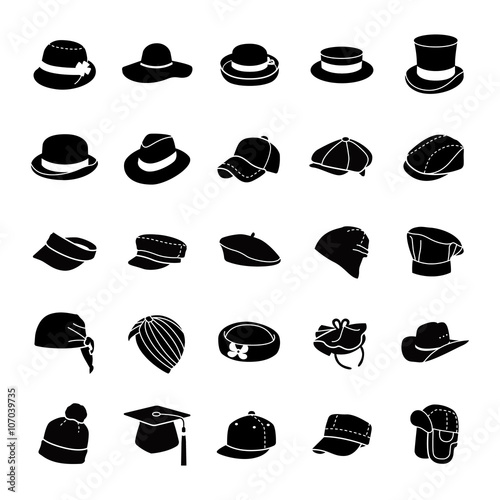 Hats glyph vector icons Canvas Print