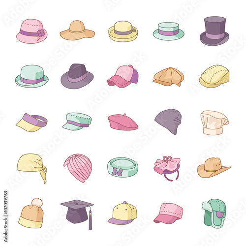 Photo Hats color vector icons