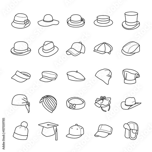 Photo Hats outlines vector icons