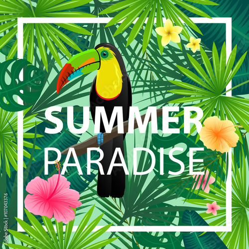 Foto auf AluDibond Ziehen Vector Illustration of an Abstract Background with Tropical Leaves, Flowers and a Toucan
