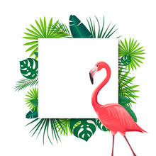 Vector Illustration Of An Abstract Background With Tropical Leaves And A Flamingo