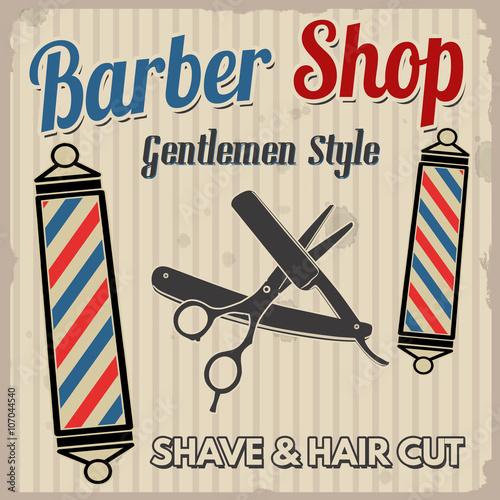 Fotografering Barber shop retro poster