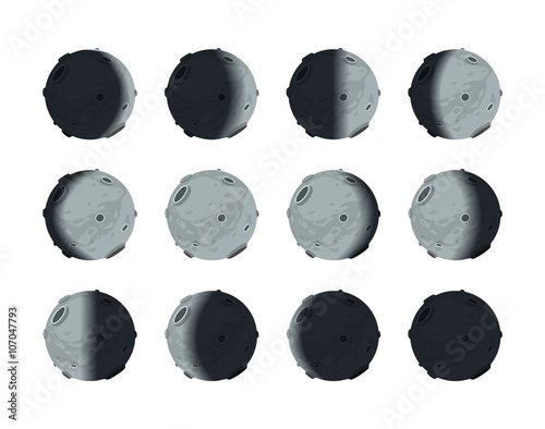 The whole cycle of moon phases from new to full on white Canvas Print