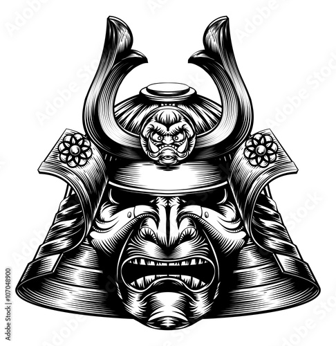Photo  Samurai Mask Woodcut Style