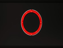 Red Oval Picture Frame On Black Wall With Cornice, 3d Rendered