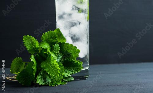 Valokuva  Mint julep in glass on the dark wooden background