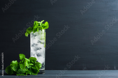 Valokuva  Mint julep in glass on the dark wooden background
