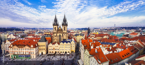 Poster Prague beautiful red roofs Prague, panoramic view