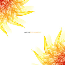 Floral Abstract Vector Background. Orange And Red Sunflower