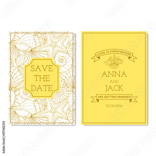 Set Of Wedding Invitation Cards With Glitter Seamless Pattern The