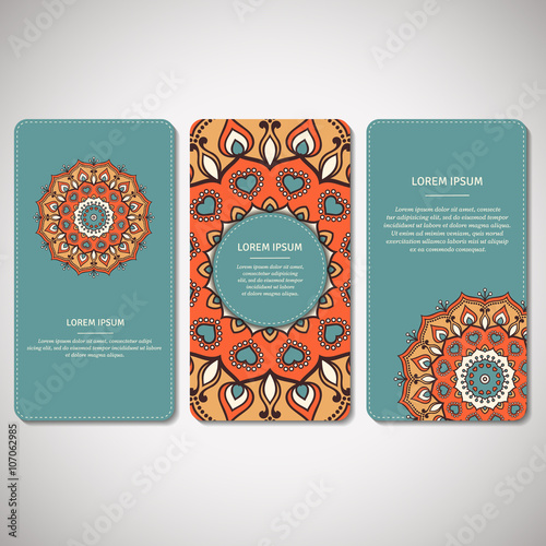 Fotografia  Set of ornamental cards, flyers with flower mandala in turquoise, orange, beige colors