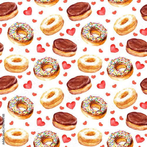 Cotton fabric Seamless template with cookies donuts and love hearts