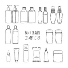 Set Of Hand Drawn Of Cosmetics For Skin Care. Doodles Of Cosmetic Bottles And Cosmetic Package. Set Of Cosmetic Bottles For Shampoo, Creams, Tonic. Vector