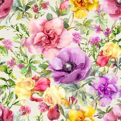 Fototapeta Łąka Flowers in meadow. Seamless floral pattern. Watercolor