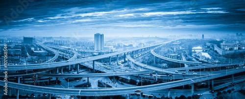 panoramic view of interchange overpass bridge