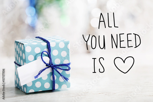 Photo  All You Need Is Love message with gift box