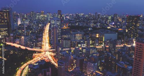 Plakat Widok z lotu ptaka na ogromne skrzyżowanie miasta