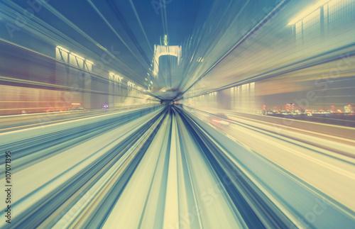 Plakat Koncepcja szybkich technologii za pośrednictwem kolejki jednoszynowej w Tokio