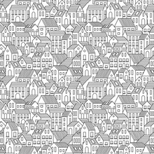 Hand Drawn Seamless Pattern With Town Houses. Vector Background In Black And White.