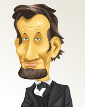 Cartoon Caricature Historical Presidente USA Abraham Lincoln