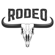 Rodeo. Buffalo Skull Isolated On White Background.